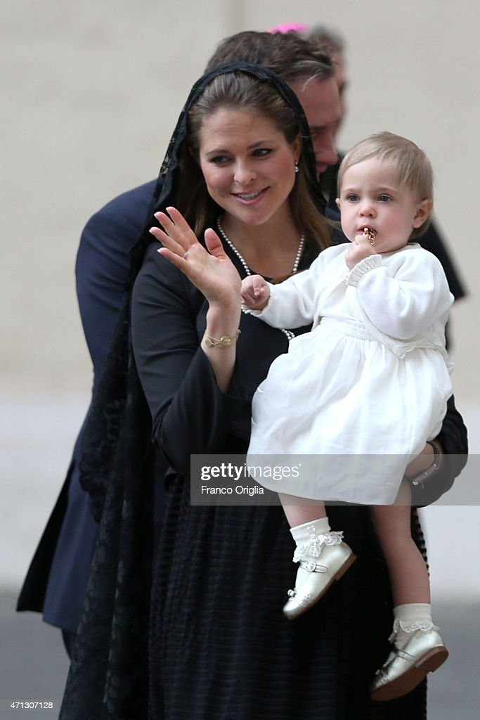 Princess Madeleine of Sweden and her daughter Princess Leonore arrive at the San Damaso Courtyard for her meeting with Pope Francis on April 27, 2015 in Vatican City, Vatican. In the afternoon the Queen will attend a meeting on the theme of human trafficking at the Vatican.