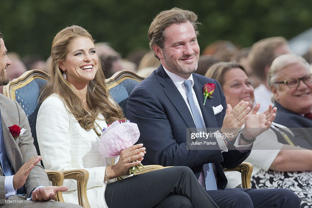 Princess Madeleine of Sweden, and her husband <a gi-track='captionPersonalityLinkClicked' href=/galleries/search?phrase=Christopher+O%27Neill&family=editorial&specificpeople=7470611 ng-click='$event.stopPropagation()'>Christopher O'Neill</a> attend The Victoria Day Concert in Borgholm, on Crown Princess Victoria of Sweden's 36th Birthday on July 14, 2013 in Borgholm, Sweden.