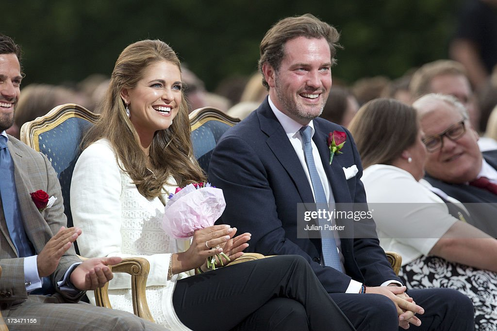 <a gi-track='captionPersonalityLinkClicked' href=/galleries/search?phrase=Princess+Madeleine+of+Sweden&family=editorial&specificpeople=160243 ng-click='$event.stopPropagation()'>Princess Madeleine of Sweden</a>, and her husband <a gi-track='captionPersonalityLinkClicked' href=/galleries/search?phrase=Christopher+O%27Neill+-+Husband+of+Princess+Madeleine&family=editorial&specificpeople=7470611 ng-click='$event.stopPropagation()'>Christopher O'Neill</a> attend The Victoria Day Concert in Borgholm, on Crown Princess Victoria of Sweden's 36th Birthday on July 14, 2013 in Borgholm, Sweden.
