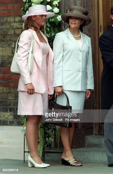 Princess Madeleine of Sweden and her sisiter Princess Victoria of Sweden arrive at the Greek Orthodox Cathedral of St Sophia in Bayswater west London...