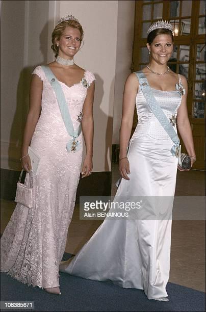 Princess Madeleine of Sweden and her sister Crown Princess Victoria of Sweden in Stockholm Sweden on April 30 2006