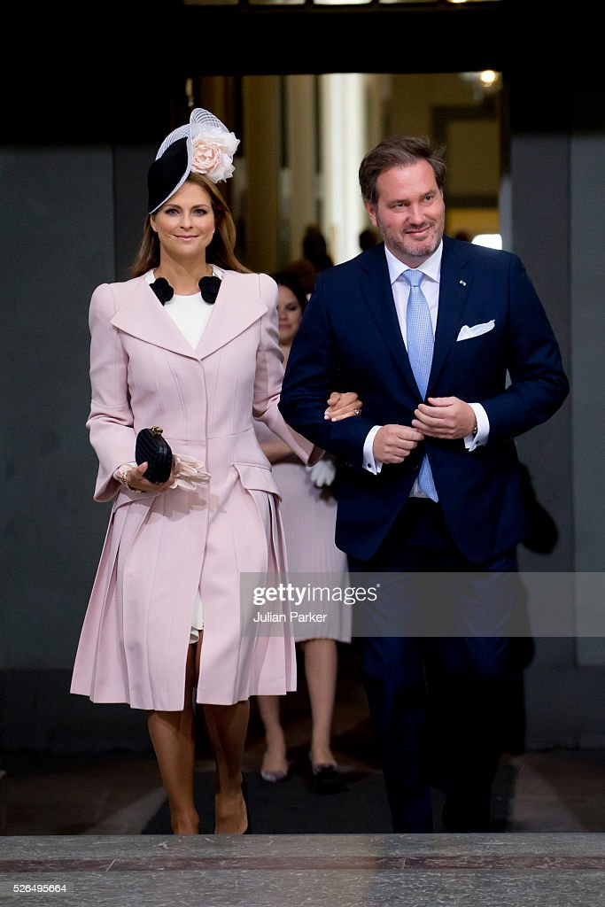 Princess Madeleine of Sweden, and husband Christopher O'Neill arrive for the Te Deum Thanksgiving Service, at The Royal Palace, Stockholm, on the occasion of King Carl Gustaf of Sweden's 70th Birthday,on April 30, 2016, in Stockholm, Sweden.