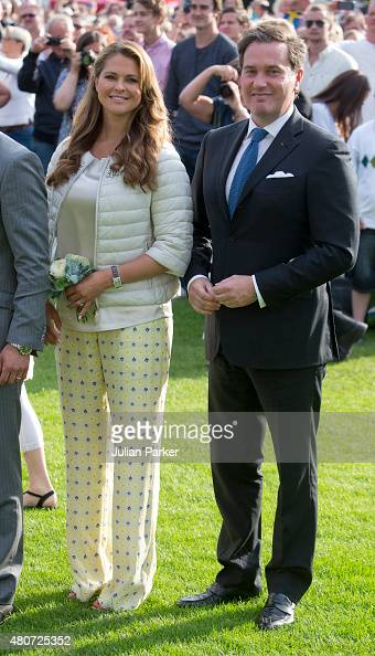 Princess Madeleine of Sweden and husband Christopher O'Neill attend a Concert in Borgholm to celebrate Crown Princess Victoria of Sweden's 38th...