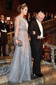 Princess Madeleine of Sweden and Nobel Prize in Chemistry Professor Paul Modrich arrive at the Nobel Prize Banquet 2015 at City Hall on December 10...