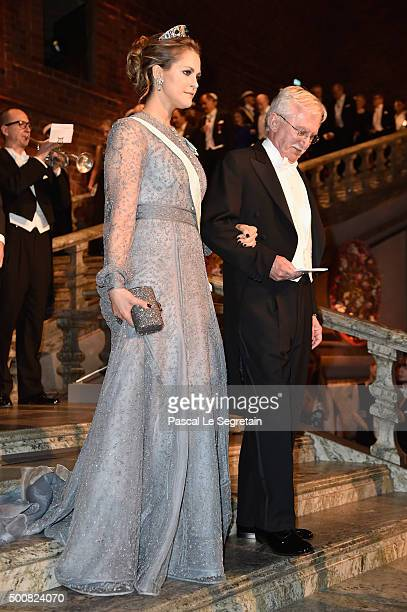Princess Madeleine of Sweden and Nobel Prize in Chemistry Professor Paul Modrich arrive at the Nobel Prize Banquet 2015 at City Hall on December 10...