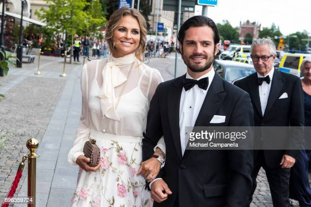Princess Madeleine of Sweden and Prince Carl Phillip of Sweden attend a formal dinner at Grand Hotel after attending an award ceremony for the Polar...