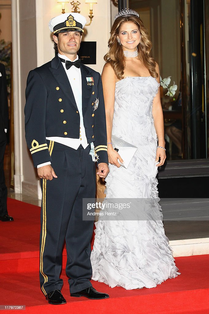 H. Princess Madeleine of Sweden and Prince Carl-Philip of Sweden leave the Hotel Hermitage to attend a dinner at Opera terraces after the religious wedding ceremony of Prince Albert II of Monaco and Princess Charlene of Monaco on July 2, 2011 in Monaco. The Roman-Catholic ceremony followed the civil wedding which was held in the Throne Room of the Prince's Palace of Monaco on July 1. With her marriage to the head of state of the Principality of Monaco, Charlene Wittstock has become Princess consort of Monaco and gains the title, Princess Charlene of Monaco. Celebrations including concerts and firework displays are being held across several days, attended by a guest list of global celebrities and heads of state.