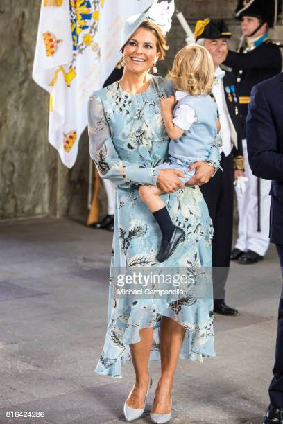 Princess Madeleine of Sweden and Prince Nicolas of Sweden arrive for a thanksgiving service on the occasion of The Crown Princess Victoria of...