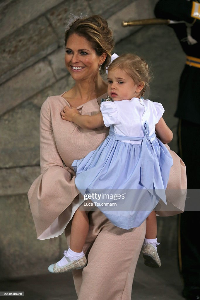 Princess Madeleine of Sweden and Princess Leonore of Sweden are seen at The Royal Palace for the Christening of Prince Oscar of Sweden on May 27, 2016 in Stockholm, Sweden.