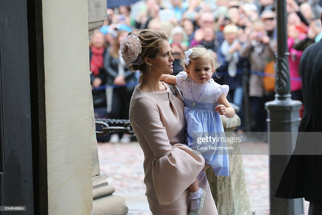 <a gi-track='captionPersonalityLinkClicked' href=/galleries/search?phrase=Princess+Madeleine+of+Sweden&family=editorial&specificpeople=160243 ng-click='$event.stopPropagation()'>Princess Madeleine of Sweden</a> and Princess Leonore of Sweden are seen at Drottningholm Palace for the Christening of Prince Oscar of Sweden on May 27, 2016 in Stockholm, Sweden.