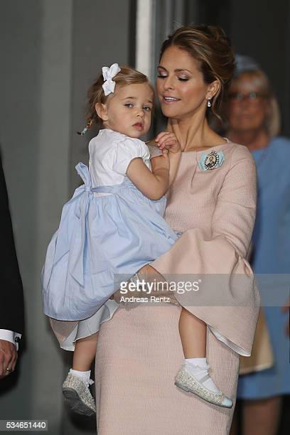 Princess Madeleine of Sweden and Princess Leonore of Sweden are seen after the christening of Prince Oscar of Sweden at Royal Palace of Stockholm on...