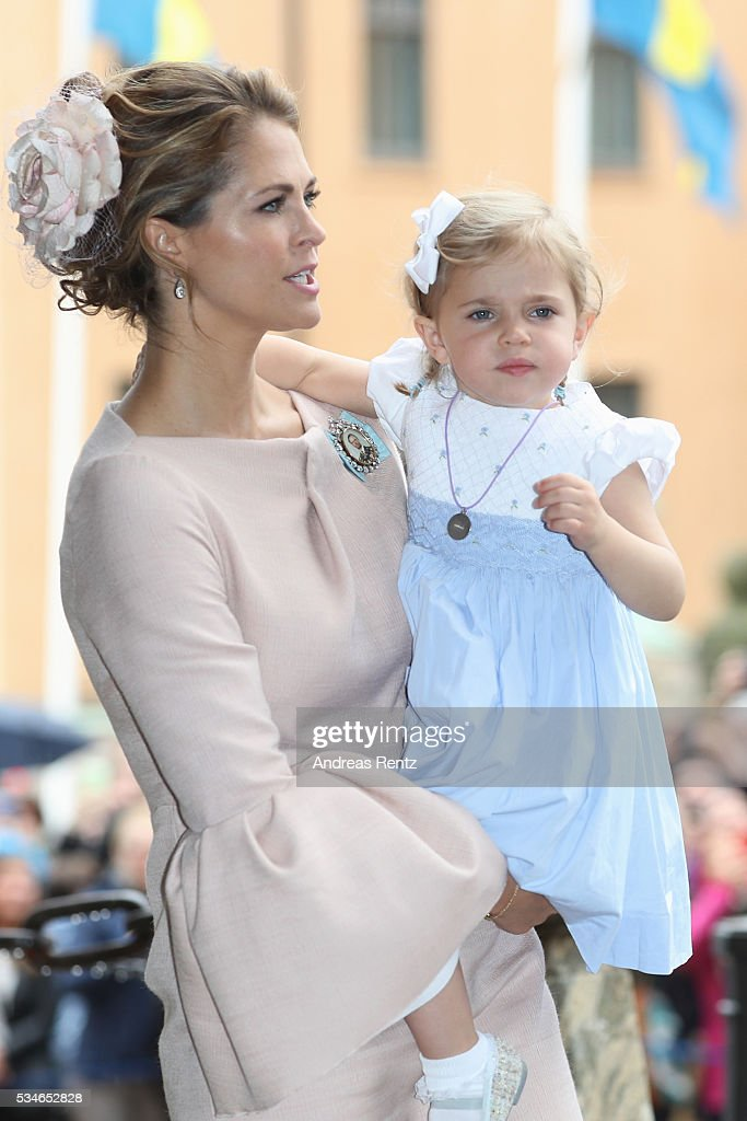 Princess Madeleine of Sweden and Princess Leonore of Sweden are seen after the christening of Prince Oscar of Sweden at Royal Palace of Stockholm on May 27, 2016 in Stockholm, Sweden.