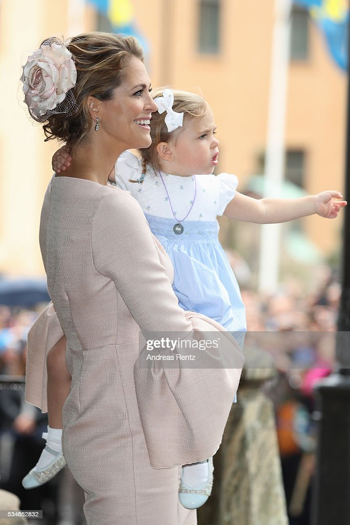 <a gi-track='captionPersonalityLinkClicked' href=/galleries/search?phrase=Princess+Madeleine+of+Sweden&family=editorial&specificpeople=160243 ng-click='$event.stopPropagation()'>Princess Madeleine of Sweden</a> and Princess Leonore of Sweden are seen after the christening of Prince Oscar of Sweden at Royal Palace of Stockholm on May 27, 2016 in Stockholm, Sweden.