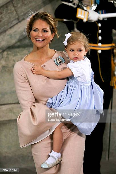Princess Madeleine of Sweden and Princess Leonore of Sweden are seen at The Royal Palace for the Christening of Prince Oscar of Sweden on May 27 2016...