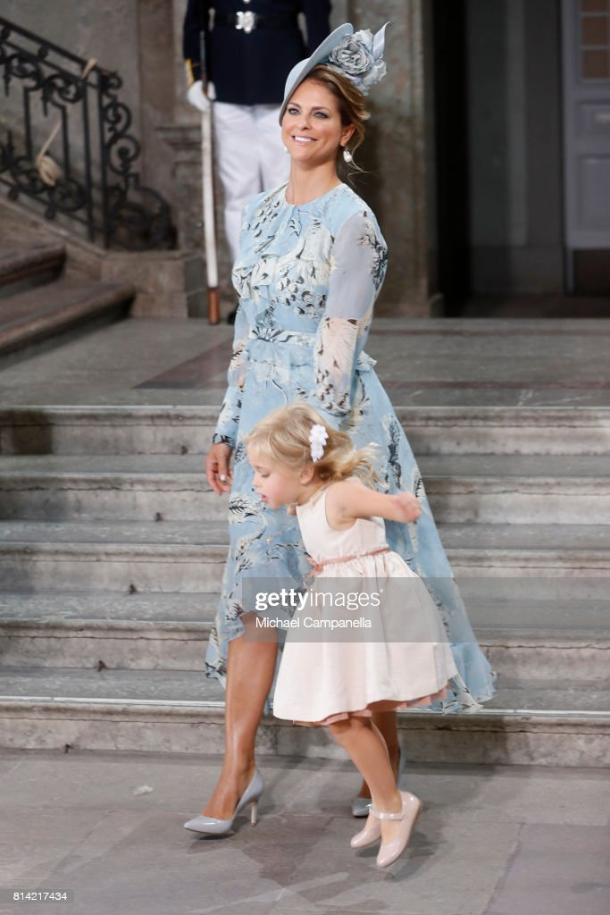 Princess Madeleine of Sweden and Princess Leonore of Sweden depart after a thanksgiving service on the occasion of The Crown Princess Victoria of Sweden's 40th birthday celebrations at the Royal Palace on July 14, 2017 in Stockholm, Sweden. The celebrations in Stockholm end with the Crown Princess Family being escorted from the Royal Palace to the Royal Stables in a horse drawn carriage.