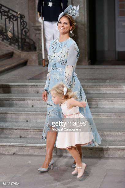Princess Madeleine of Sweden and Princess Leonore of Sweden depart after a thanksgiving service on the occasion of The Crown Princess Victoria of...