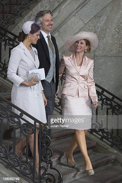 Princess Madeleine Of Sweden And Princess Martha Louise Of Norway With Her Husband Ari Behn After The Christening Of Princess Estelle At The Royal...
