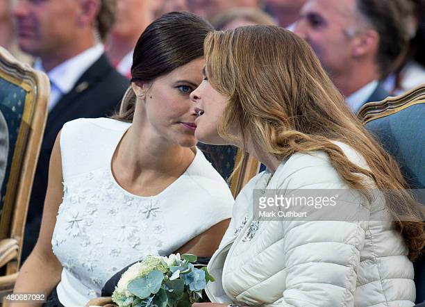 Princess Madeleine of Sweden and Princess Sofia of Sweden attend a concert at the 38th birthday celebrations for Crown Princess Victoria on July 14...