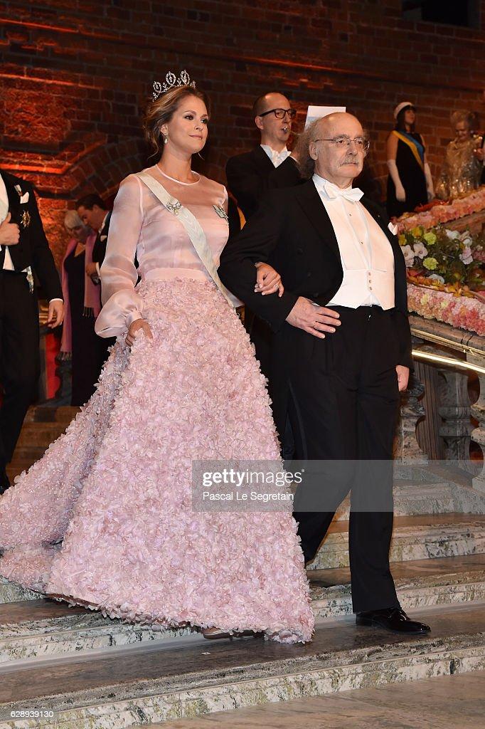 Princess Madeleine of Sweden and Professor F. Duncan M. Haldane, laureate of the Nobel Prize in Physics, arrive at the Nobel Prize Banquet 2015 at City Hall on December 10, 2016 in Stockholm, Sweden.