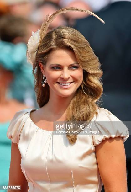 Princess Madeleine of Sweden arrives at the Place du Palais Monte Carlo for the religious ceremony of the wedding of Charlene Wittstock to Prince...