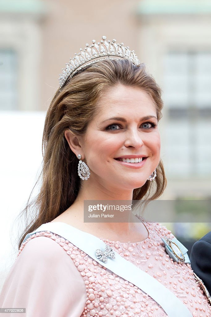 Princess Madeleine of Sweden, arrives at The Royal Chapel, at The Royal Palace in Stockholm for The Wedding of Prince Carl Philip of Sweden and Sofia Hellqvist on June 13, 2015 in Stockholm, Sweden.