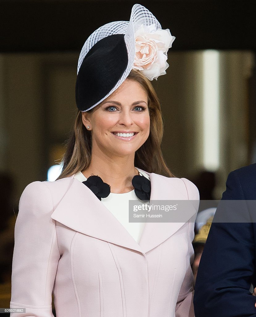 Princess Madeleine of Sweden arrives at the Royal Palace to attend Te Deum Thanksgiving Service to celebrate the 70th birthday of King Carl Gustaf of Sweden on April 30, 2016 in Stockholm, Sweden.