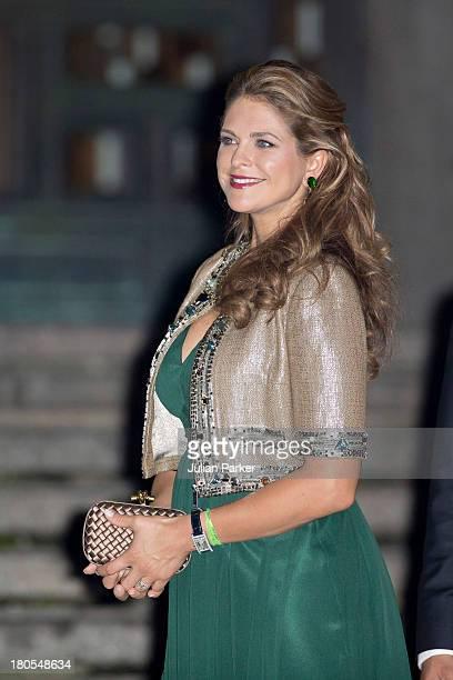 Princess Madeleine of Sweden arrives at the Swedish Riksdag's concert to celebrate King Carl Gustaf of Swedens 40th Jubilee at Stockholm Concert Hall...