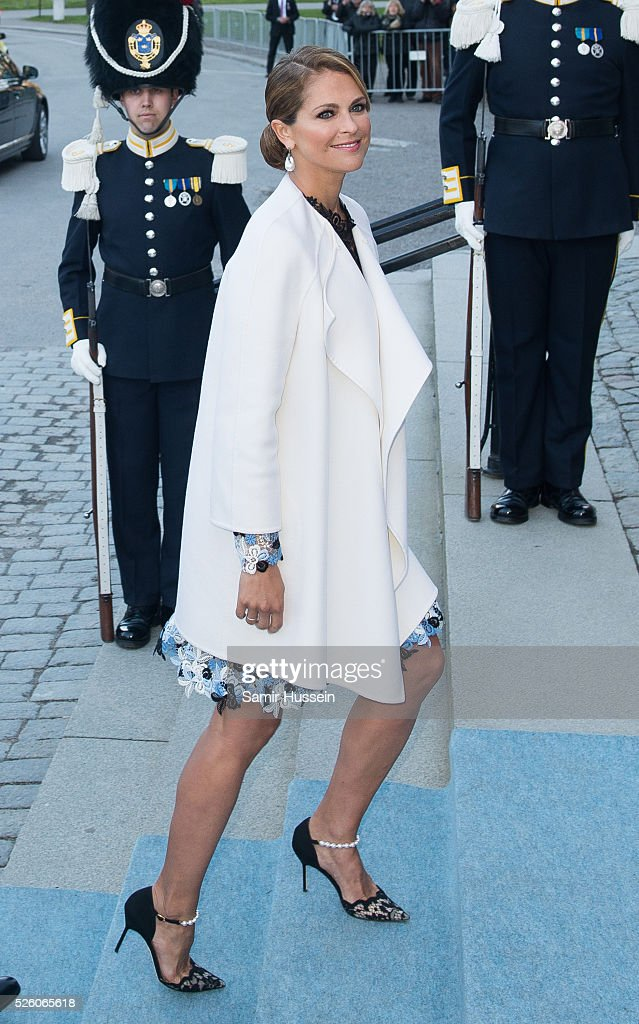 Princess Madeleine of Sweden arrives to the Nordic Museum to attend a concert of the Royal Swedish Opera and Stockholm Concert Hall to celebrate the...