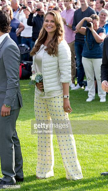 Princess Madeleine of Sweden attends a Concert in Borgholm to celebrate Crown Princess Victoria of Sweden's 38th Birthday on July 14th 2015 in...