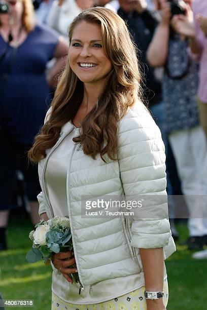 Princess Madeleine of Sweden attends a concert to celebrate the 38th birthday of Crown Princess Victoria of Sweden at Borgholmon July 14 2015 in...