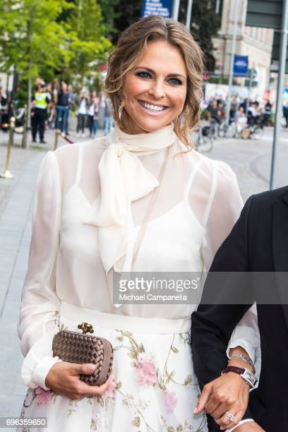 Princess Madeleine of Sweden attends a formal dinner at Grand Hotel after attending an award ceremony for the Polar Music Prize at Konserthuset on...
