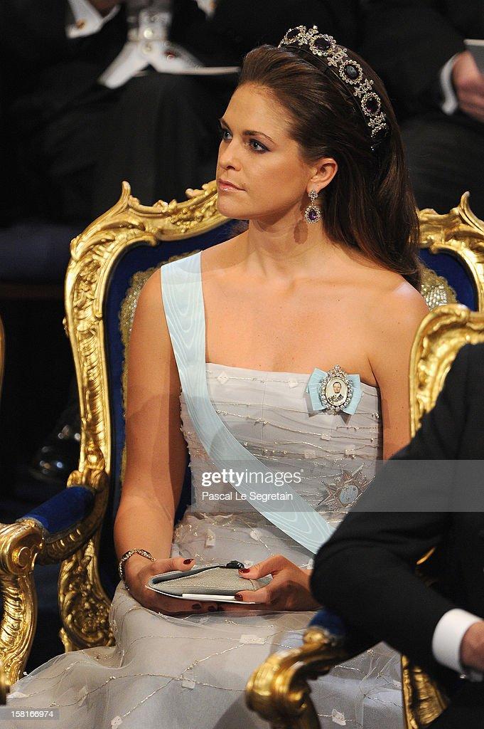Princess Madeleine of Sweden attends the 2012 Nobel Prize Award Ceremony at Concert Hall on December 10, 2012 in Stockholm, Sweden.