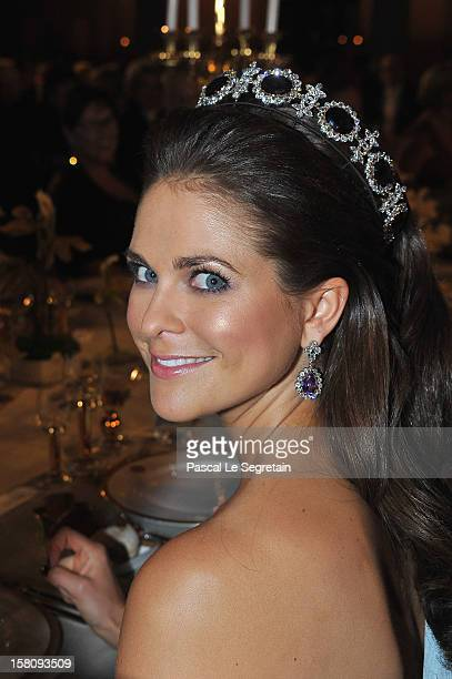 Princess Madeleine of Sweden attends the Nobel Banquet after the 2012 Nobel Peace Prize Ceremony at Town Hall on December 10 2012 in Stockholm Sweden