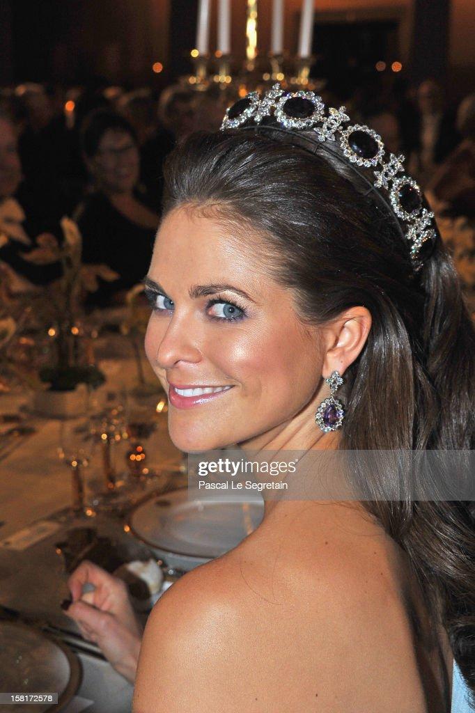 Princess Madeleine of Sweden attends the Nobel Banquet at Town Hall on December 10 2012 in Stockholm Sweden