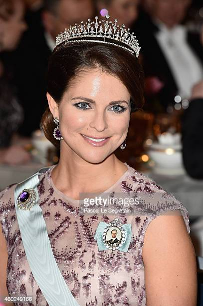 Princess Madeleine of Sweden attends the Nobel Prize Banquet 2014 at City Hall on December 10 2014 in Stockholm Sweden