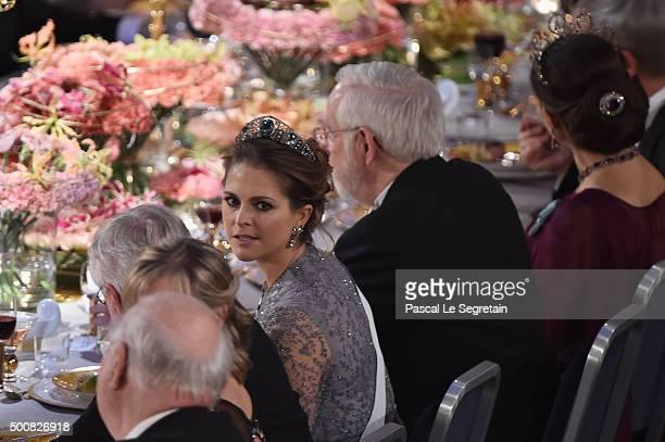 Princess Madeleine of Sweden attends the Nobel Prize Banquet 2015 at City Hall on December 10 2015 in Stockholm Sweden