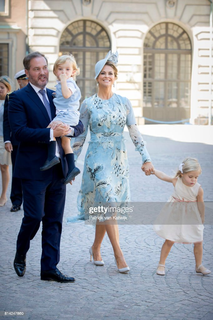 Princess Madeleine of Sweden, Chris O'Neill, Princess Leonore of Sweden and Prince Nicolas of Sweden after the thanksgiving service on the occasion of The Crown Princess Victoria of Sweden's 40th birthday celebrations at the Royal Palace on July 14, 2017 in Stockholm, Sweden.