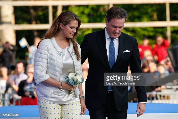Princess Madeleine of Sweden Christopher O'Neill attend a concert to celebrate the 38th birthday of Crown Princess Victoria of Sweden at Borgholmon...