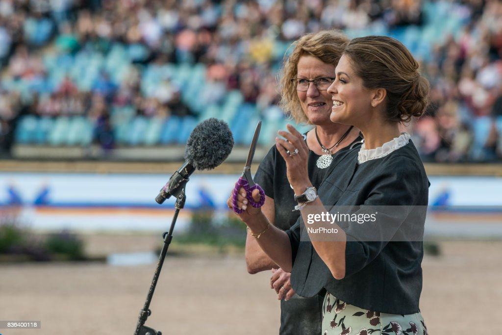 Princess Madeleine of Sweden cuts the ribbon to officially open the 2017 Longines FEI European Championships during the opening ceremony at Ullevi stadium in Gothenburg, Sweden on August 21 2017