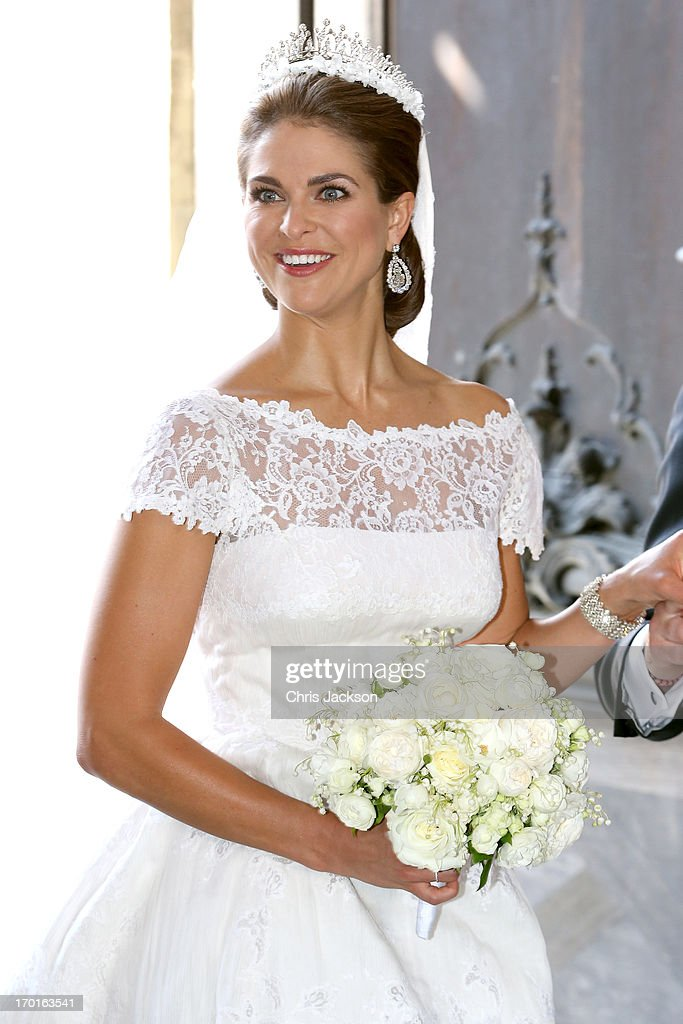 Princess Madeleine of Sweden departs from the wedding ceremony of Princess Madeleine of Sweden and Christopher O'Neill hosted by King Carl Gustaf XIV and Queen Silvia at The Royal Palace on June 8, 2013 in Stockholm, Sweden.