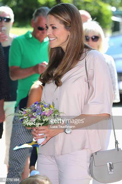 Princess Madeleine of Sweden is seen visiting Gotland Museum on June 3 2016 in Gotland Sweden Duchess Leonore meets her horse Haidi of Gotland for...