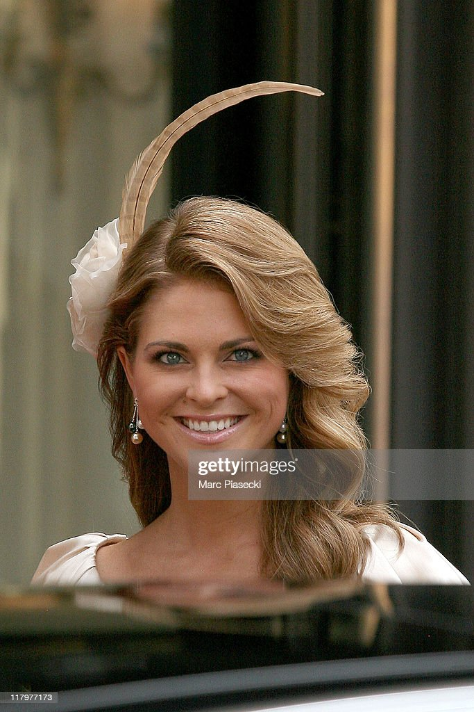 H. Princess Madeleine of Sweden is sighted leaving the 'Hermitage' hotel to attend the Royal Wedding of Prince Albert II of Monaco to Charlene Wittstock in the main courtyard at on July 2, 2011 in Monaco, Monaco.