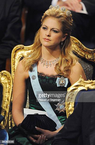 Princess Madeleine of Sweden looks on during the Nobel Foundation Prize Awards Ceremony 2009 at the Concert Hall on December 10 2009 in Stockholm...