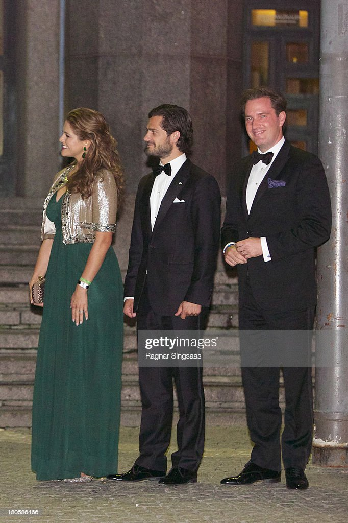 <a gi-track='captionPersonalityLinkClicked' href=/galleries/search?phrase=Princess+Madeleine+of+Sweden&family=editorial&specificpeople=160243 ng-click='$event.stopPropagation()'>Princess Madeleine of Sweden</a>, <a gi-track='captionPersonalityLinkClicked' href=/galleries/search?phrase=Prince+Carl+Philip+of+Sweden&family=editorial&specificpeople=160179 ng-click='$event.stopPropagation()'>Prince Carl Philip of Sweden</a> and <a gi-track='captionPersonalityLinkClicked' href=/galleries/search?phrase=Christopher+O%27Neill+-+Husband+of+Princess+Madeleine&family=editorial&specificpeople=7470611 ng-click='$event.stopPropagation()'>Christopher O'Neill</a> arrive at the Swedish Riksdag's Jubilee Concert To Celebrate King Carl Gustaf's 40th Jubilee at Stockholm Concert Hall on September 14, 2013 in Stockholm, Sweden.