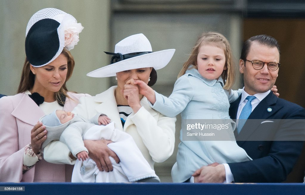 Princess Madeleine of Sweden, Prince Oscar of Sweden, Crown Princess Victoria of Sweden, Prince Daniel of Sweden and Princess Estelle of Sweden attend the choral tribute and cortege during the celebrations of the 70th birthday of King Carl Gustaf of Sweden on April 30, 2016 in Stockholm, Sweden.