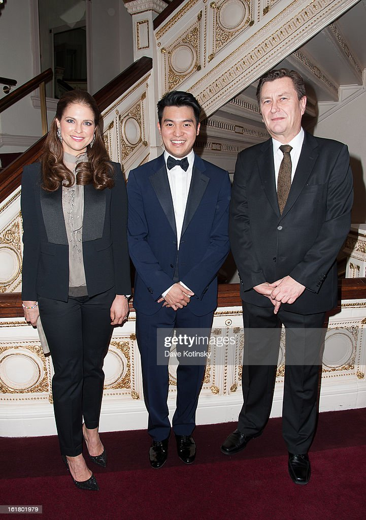 <a gi-track='captionPersonalityLinkClicked' href=/galleries/search?phrase=Princess+Madeleine+of+Sweden&family=editorial&specificpeople=160243 ng-click='$event.stopPropagation()'>Princess Madeleine of Sweden</a>, Ray Chen and Consul General Jukka Pietikainen attends Stockholm Concert Hall Foundation Presents: The Royal Stockholm Philharmonic Orchestra at Carnegie Hall on February 15, 2013 in New York City.