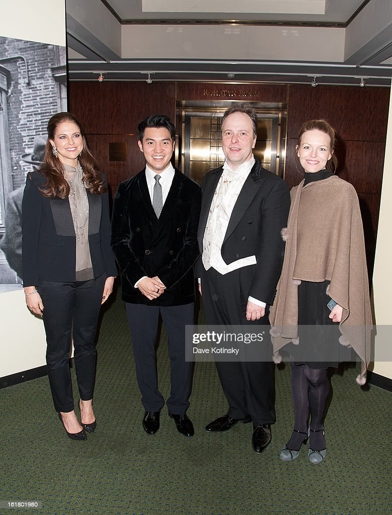 <a gi-track='captionPersonalityLinkClicked' href=/galleries/search?phrase=Princess+Madeleine+of+Sweden&family=editorial&specificpeople=160243 ng-click='$event.stopPropagation()'>Princess Madeleine of Sweden</a>, Ray Chen, RSPO Chief Conductor Sakari Oramo, Elin Rombo attend Stockholm Concert Hall Foundation Presents: The Royal Stockholm Philharmonic Orchestra at Carnegie Hall on February 15, 2013 in New York City.