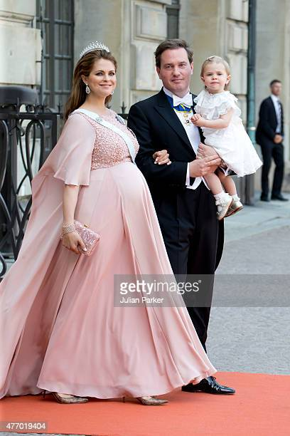Princess Madeleine of Sweden with husband Christopher O'Neill and their daughter Princess Leonore of Sweden arrive at The Royal Chapel at The Royal...