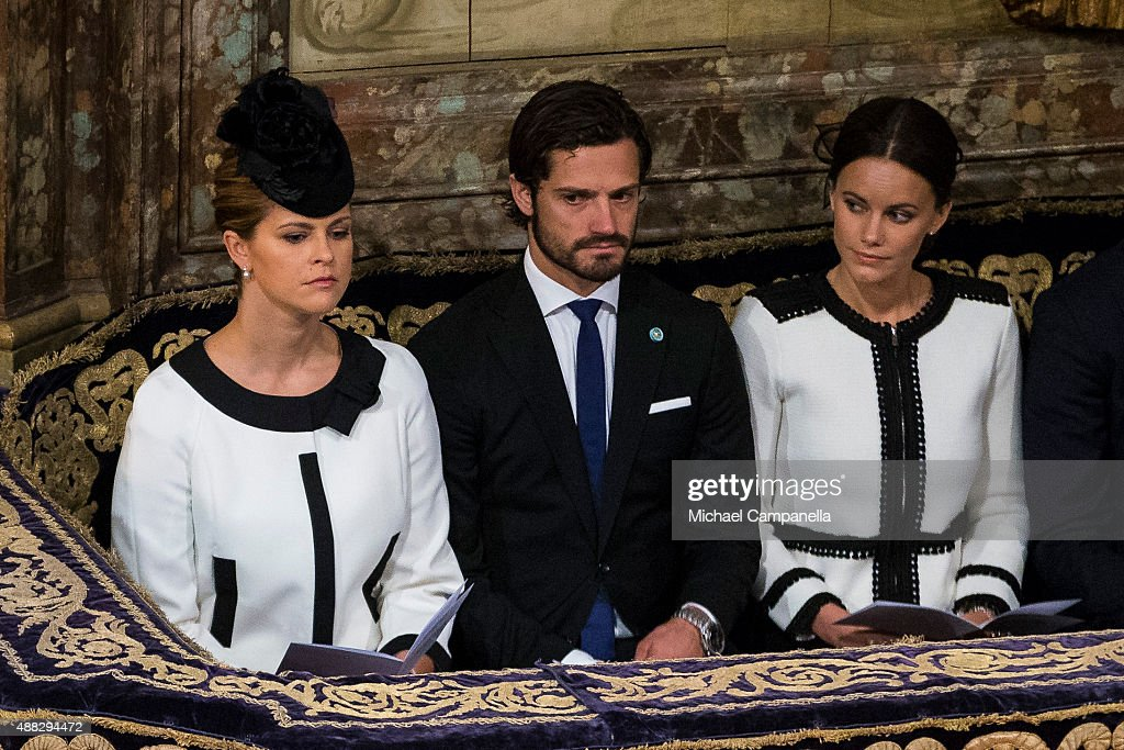 Princess Madeleine, Prince Carl Philip, and Princess Sofia of Sweden attend a service at the Church of St. Nicholas in connection with the opening of the parliamentary session on September 15, 2015 in Stockholm, Sweden.