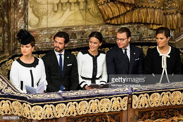 Princess Madeleine Prince Carl Philip Princess Sofia Prince Daniel and Crown Princess Victoria of Sweden attend a service at the Church of St...